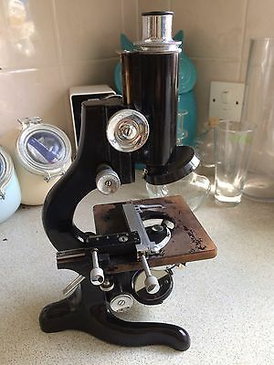 Antique Vintage Watson Service Microscope With Box And Lenses 1941    73862