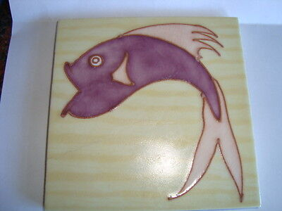 RARE CARTER POOLE ART DECO TUBE LINED FISH TILE FABULOUS CIRCA 1930`S 5x5 INCHES
