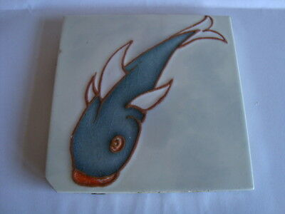 Rare Carter Poole Art Deco Tube Lined Fish Tile Fabulous Circa 1930`s 4X4 Inches