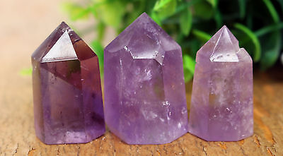 65g 3Pcs AA++ NATURAL PREETY AMETHYST CRYSTAL QUARTZ POINT HEALING