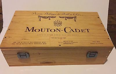 Wood Wine Crate Box Mouton-Cadet Baron Phillipe De Rothschild