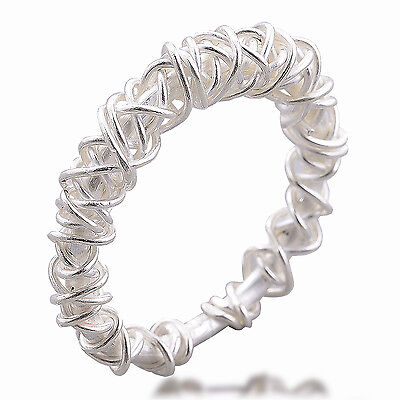 Handmade Woven Ring Pure Silver Size UK=X