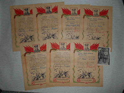 USSR 1945 SEVEN Thanksgiven documents for one person and photo. Lot of 7 pieces