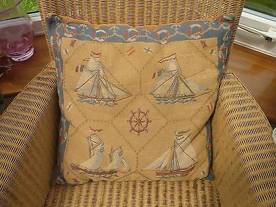 """Vintage quality tapestry cushion feather insert Yachts velvet back 17""""/17"""""""