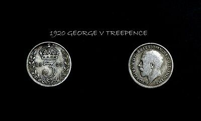 1920 George V Silver Threepence, In Better Condition,a110