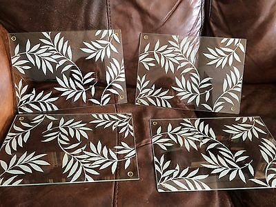 4 X Glass Table Place Mats Leaf Pattern