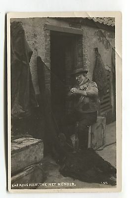 Sheringham - The Net Mender - fishing industry - old real photo postcard