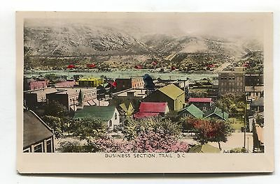 Trail, BC - Business Section - old Canada tinted real photo postcard