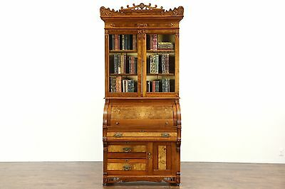 Victorian Eastlake 1885 Antique Cylinder Roll Top Secretary Desk & Bookcase