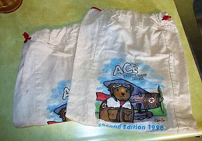2 Texaco Flying Ace Draw String Tote Bags - 1998