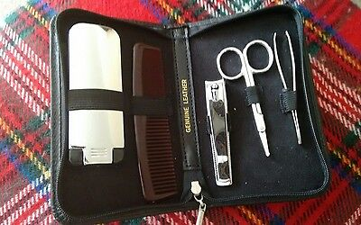Nwot : Gents Compact Travel Grooming Set In Leather Case