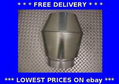 High velocity jet roof cowl, ducting, rain hat, anti-downdraught, galvanised