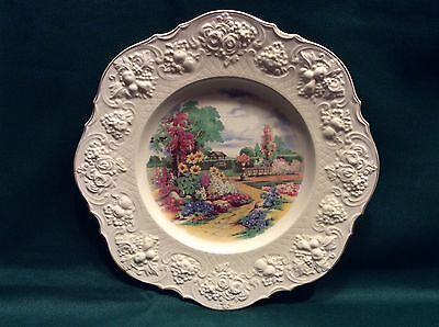 "Crown Ducal 11"" Ceramic Plate - Flower Garden - England"