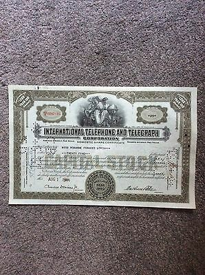 International Telephone & Telegraph Dated 1944 25 Unit INVALID SHARE CERTIFICATE