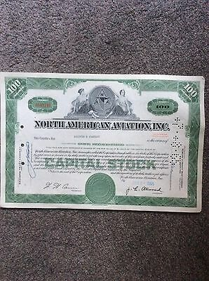 North American Aviation Dated 1965 100 Shares INVALID SHARE CERTIFICATE