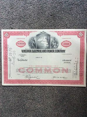 Virginia Electric And Power Dated 1968 100 Shares INVALID SHARE CERTIFICATE