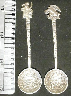 """2 different Mexico 925 Sterling Silver round sugar spoons 3"""" each .4055 oz"""