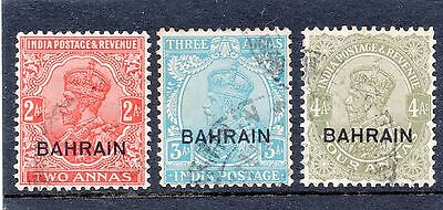 India 1933 used in Bahrein and scarce thus. Bahrein SG 6,7 and 9 Cat £170