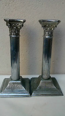 Pair Of Chrome Corinthian Style Candle Sticks
