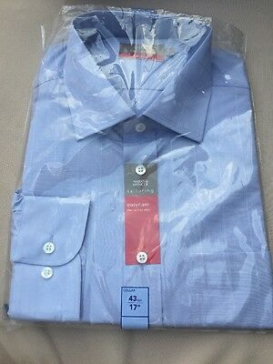 """BNIP Marks And spencer Tailoring  Easycare SHIRT 17"""" 43cm Collar M&S BNWT Check"""