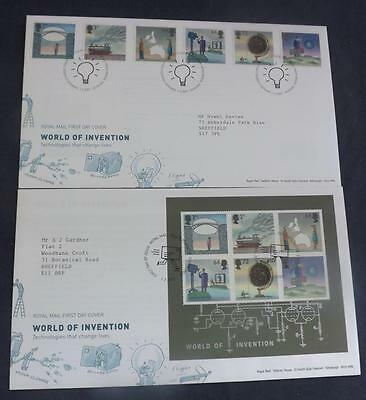Two World of Invention First Day Covers Ordinary & Miniature Sheet SHS FDC41