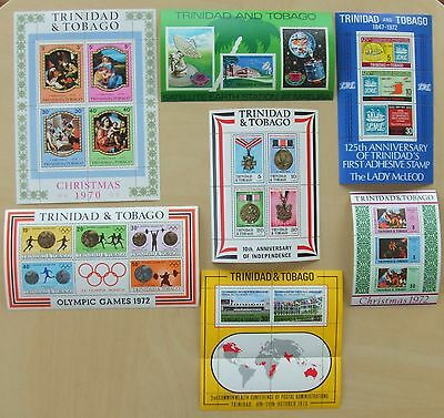 7 Trinidad & Tobago Miniature Stamp Sheets 1970 – 1973