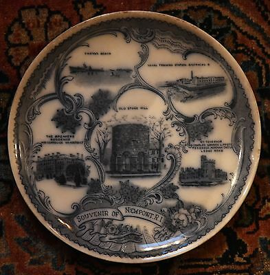 "Antique Souvenir Plate Newport Road Island Breakers Norman Castle Stone Mill 8""w"