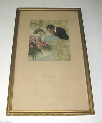 "Antique 1909  Art Print ""The Gift"" by C Clyde Squires Newborn Mother & Father"