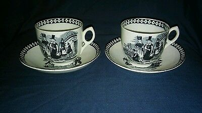 Pair of Antique Cups & Saucers, Transfer Printed Welsh Scenes. Unmarked.