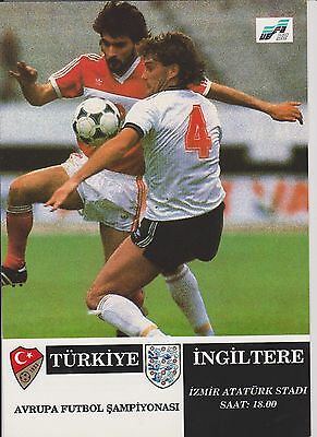 TURKEY v ENGLAND 1991 EURO 92 QUALIFYING MATCH PLAYED IN ISMIR V.I.P PROGRAMME