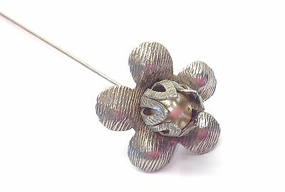 Vintage Pearl Flower Hat Pin - Angled Head