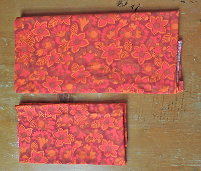 True Vintage 1960s Psychedelic Red and Orange Fabric 2 pieces Mod  Panton