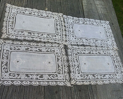 Antique Linen and Lace Hand Stitched, Embroidered Squares, Set/4, Lot #1