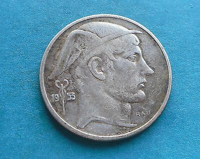 Belgium, 2 Francs (silver) 1953 in Good Condition.