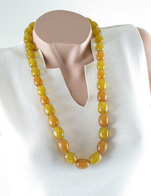 Vintage Lucite long Necklace olive bead yellow orange silver flakes inclusion