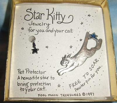 Star Kitty Cat Protection Amulet and Pewter Pin MIB