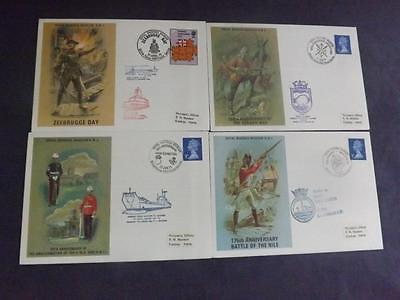 Four Royal Marines Museum First Day Covers RM 1 2 3 4 carried aboard ships FDCF1