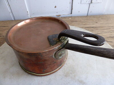 Antique French small copper original tinned saucepan (with lid)