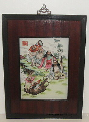 Framed Antique  Chinese Republic Period  Painting on Porcelain