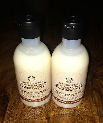 NEW 2 x The Body Shop Almond Hand and Nail Conditioning Wash 250ml