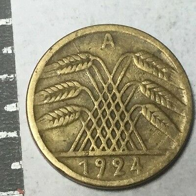 GERMANY 1924-A 5 Pfennig coin nice condition
