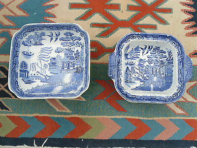 2 old blue and white willow pattern bowls