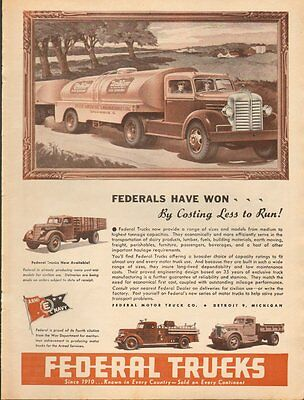 1944 WW2 Ad FEDERAL MOTOR TRUCK CO. Tankers, Fire Engines, Military 061816