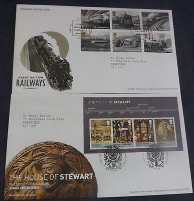 2 First Day Covers from 2010 Great British Railway & House of Stewart M/S FDCF1