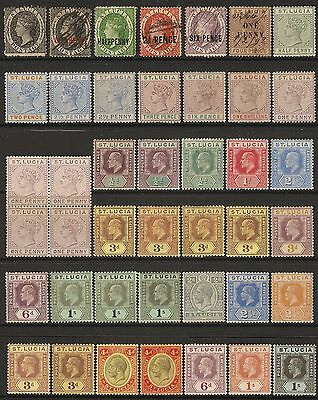 St Lucia QV to GV stamps 1/2d - 1s (42) mainly Mint Hinged with shades