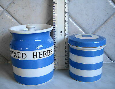 "Rare Tg Green Cornishware Mixed Herb 4 3/8"" Storage Jar / Canister"