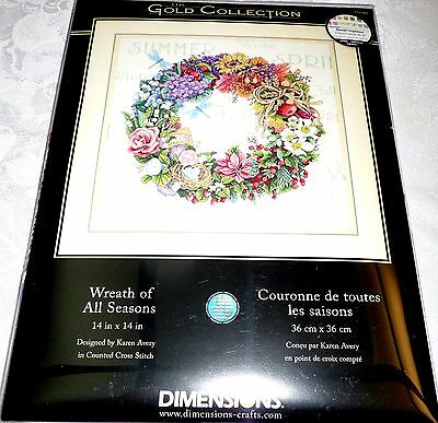 """Dimensions Gold Collection Counted Cross Stitch Kit WREATH OF ALL SEASONS 14x14"""""""