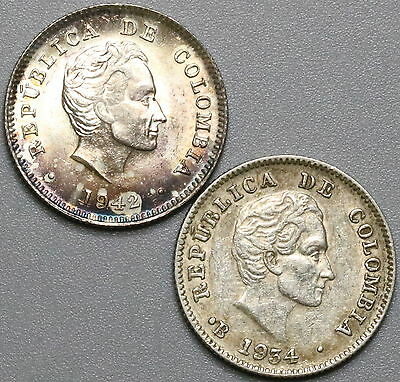 1934 1942 COLOMBIA Silver 10 Centavos Lot 2 TWO Coins (17032212R)