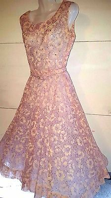 VTG 1950s PINK SHEER CHIFFON RHINESTONE EMBELLISHED COCKTAIL PARTY DRESS SZ S