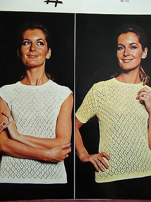 """VINTAGE TWILLEYS LACY SWEATER  KNITTING PATTERN 34-44"""" (c853)"""